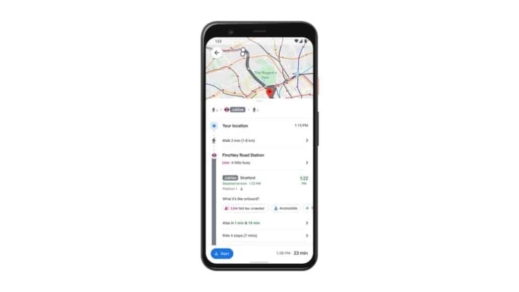 google maps real-time transport occupancy